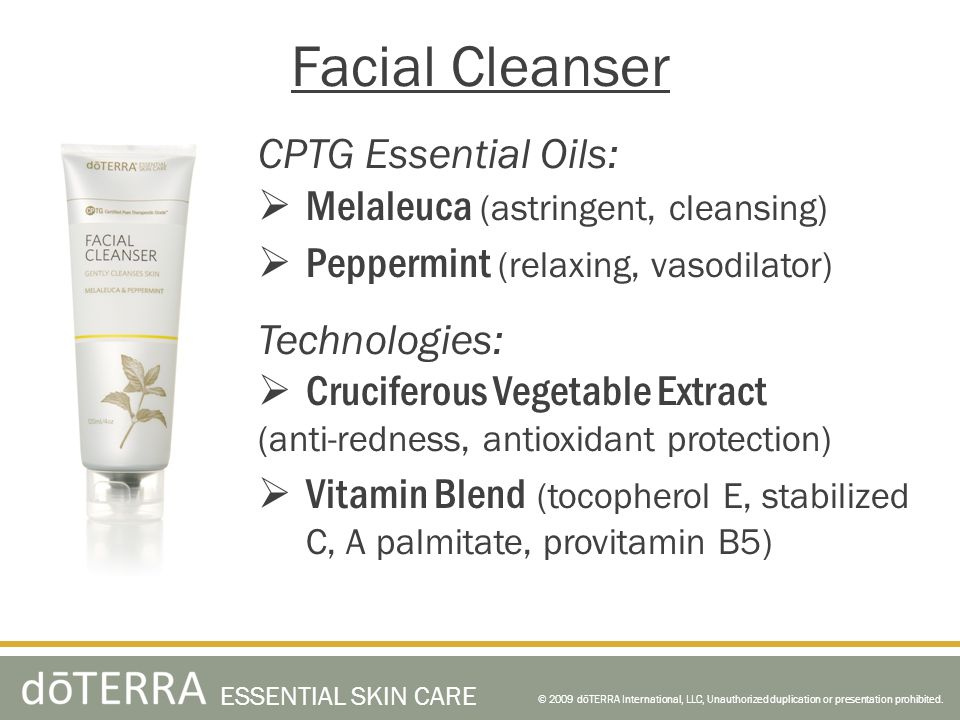 Facial Cleanser CPTG Essential Oils: Melaleuca (astringent, cleansing)