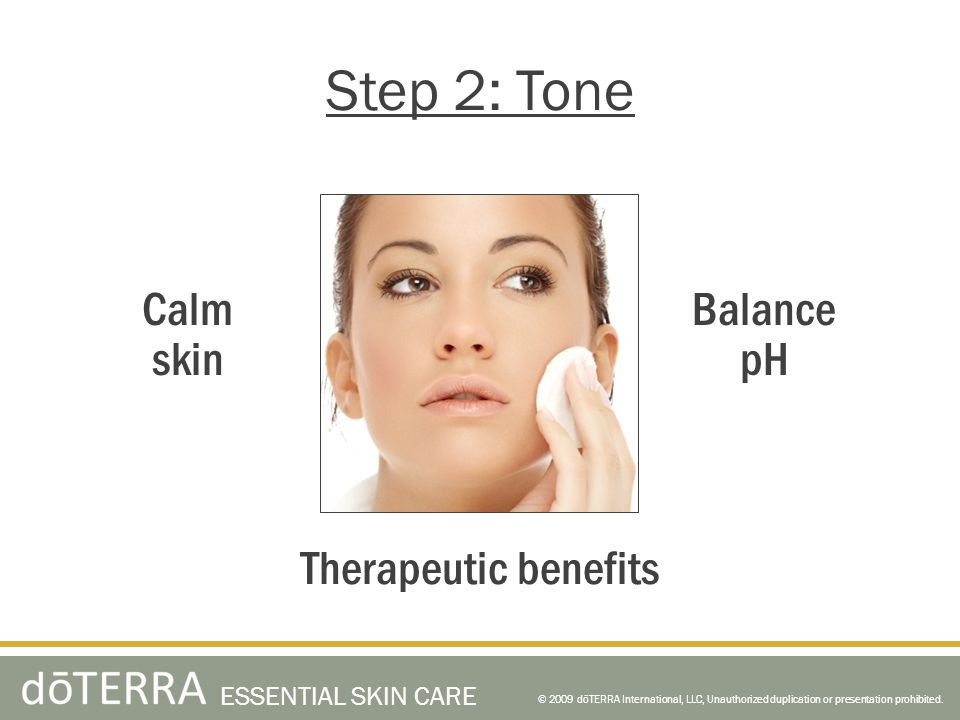 Step 2: Tone Calm skin Balance pH Therapeutic benefits