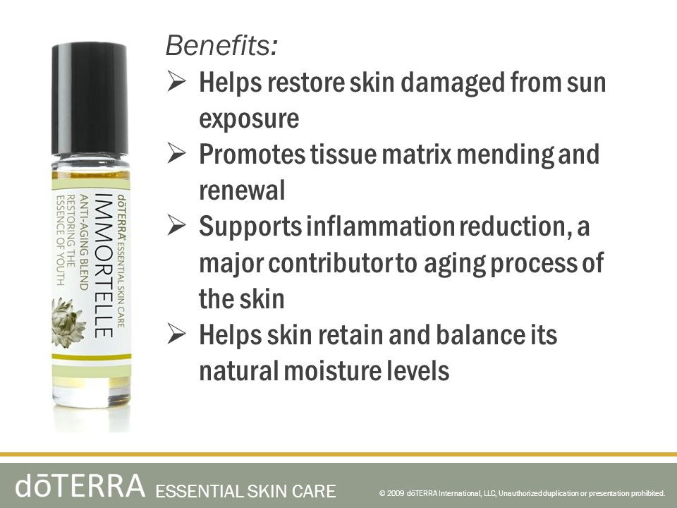 Helps restore skin damaged from sun exposure
