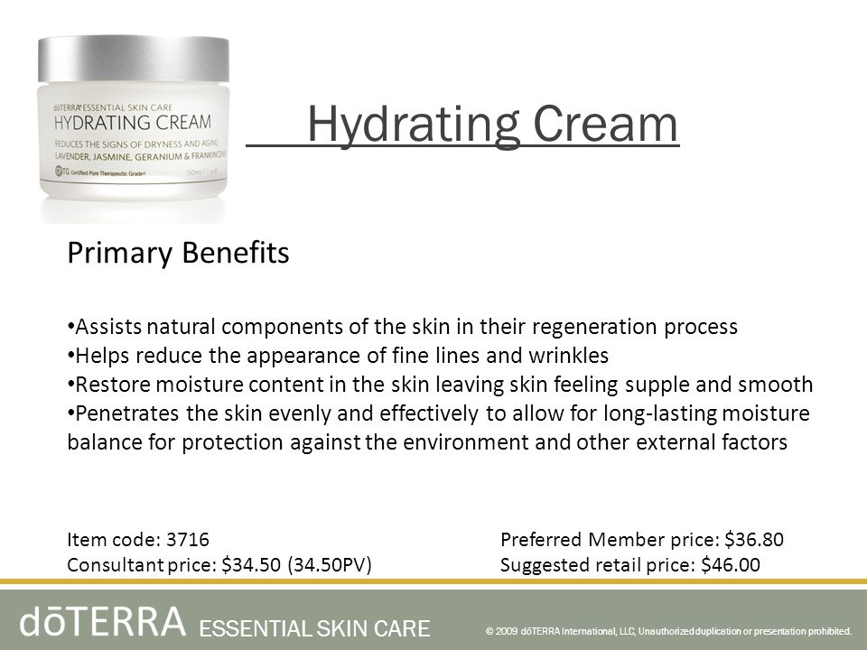 Hydrating Cream Primary Benefits