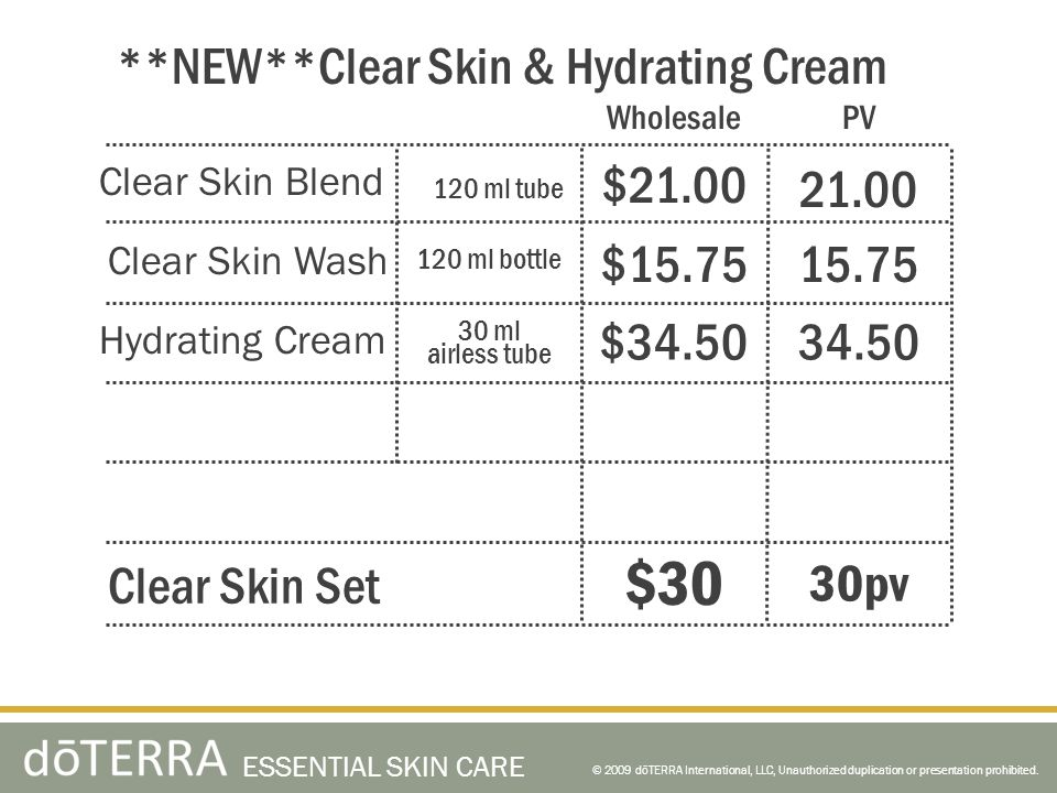 $30 **NEW**Clear Skin & Hydrating Cream $21.00 21.00 $15.75 15.75