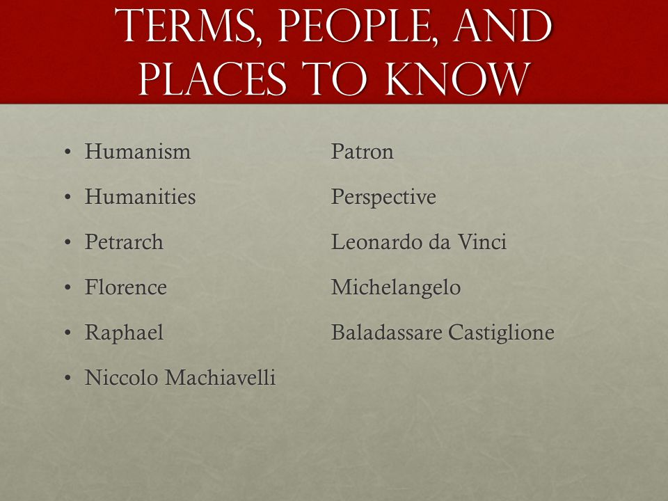 Terms, People, and Places to Know