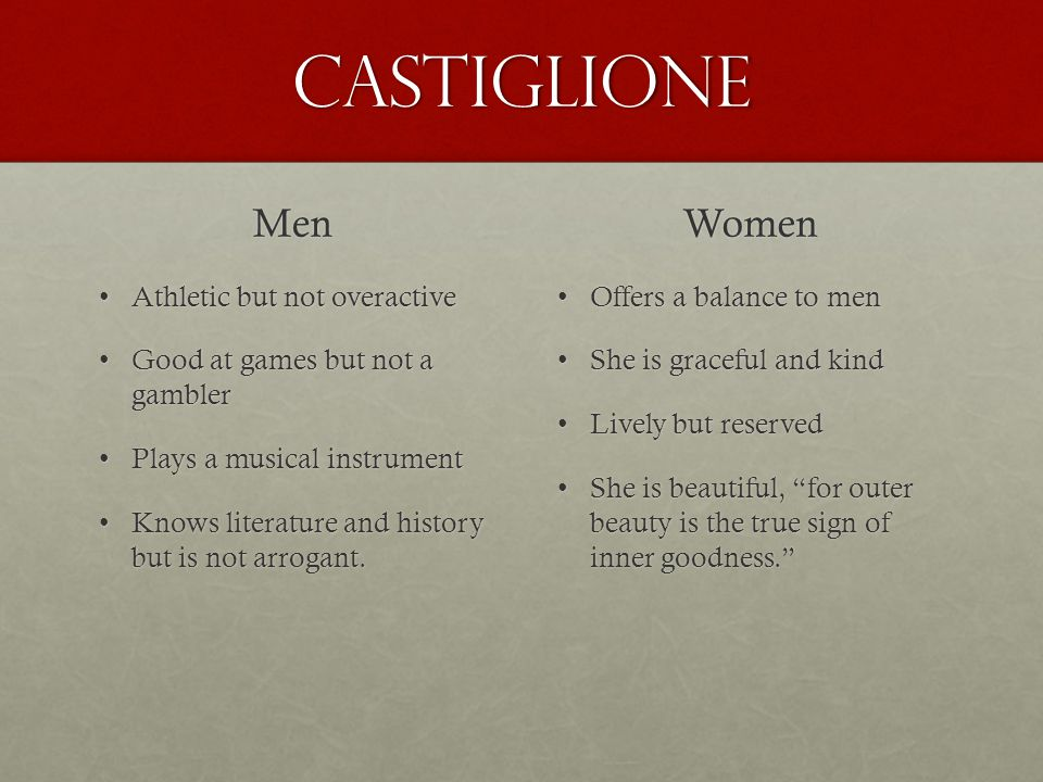 Castiglione Men Women Athletic but not overactive