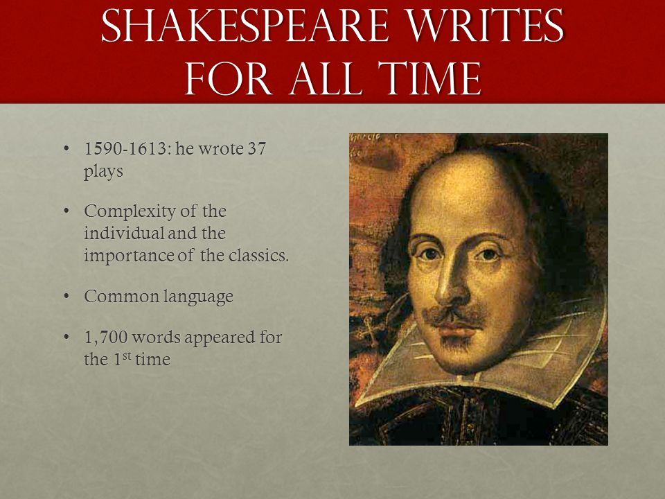 Shakespeare Writes for All Time