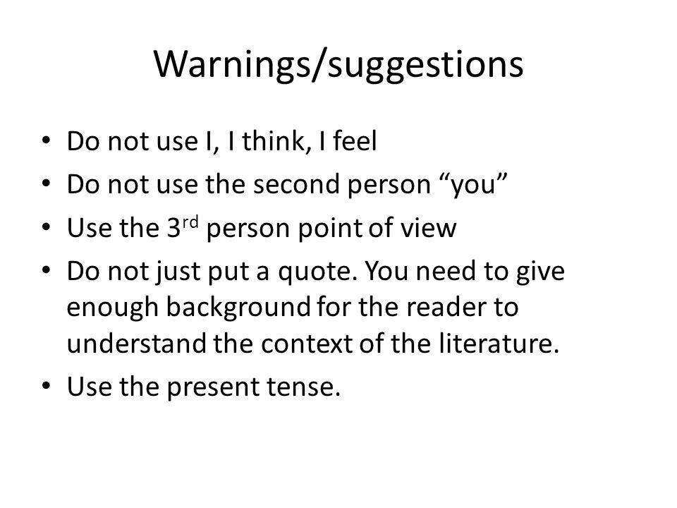 Warnings/suggestions