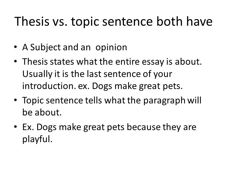 Thesis vs. topic sentence both have