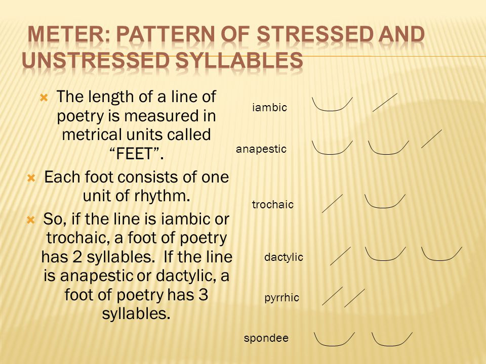 Meter: pattern of stressed and unstressed syllables