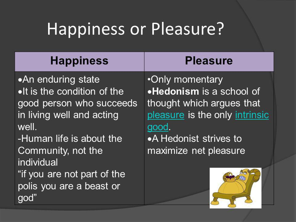 Happiness or Pleasure Happiness Pleasure An enduring state