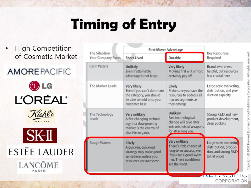 Timing of Entry High Competition of Cosmetic Market
