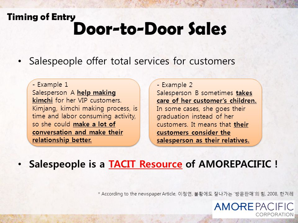 Door-to-Door Sales Timing of Entry