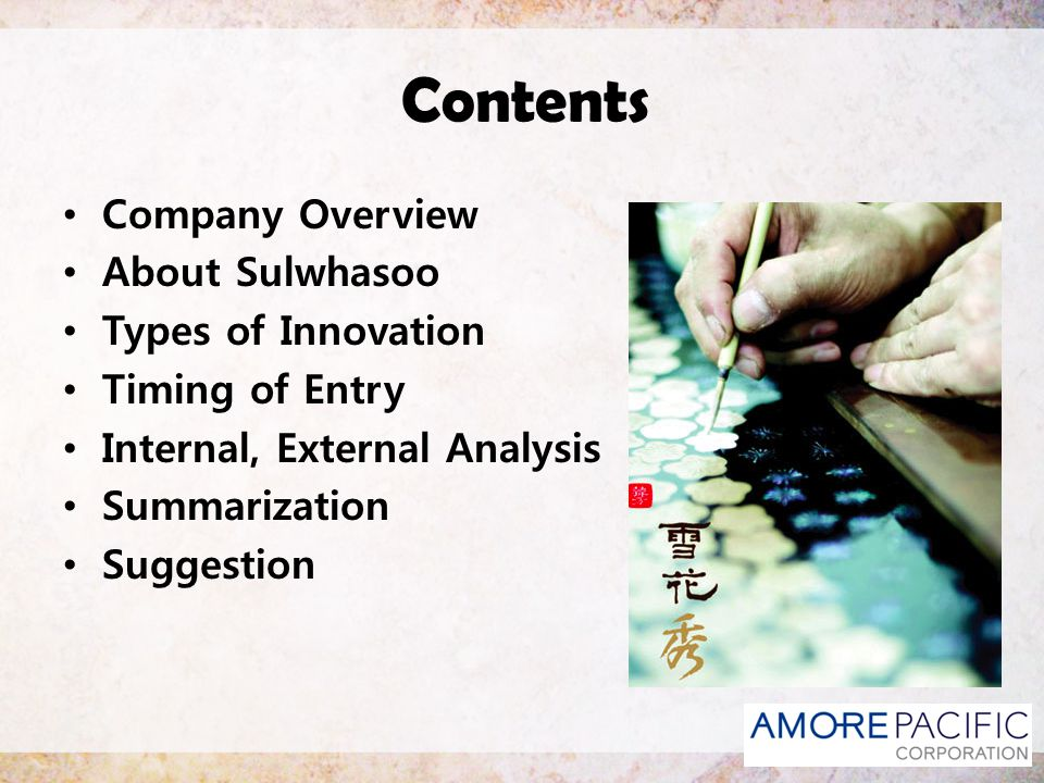 Contents Company Overview About Sulwhasoo Types of Innovation
