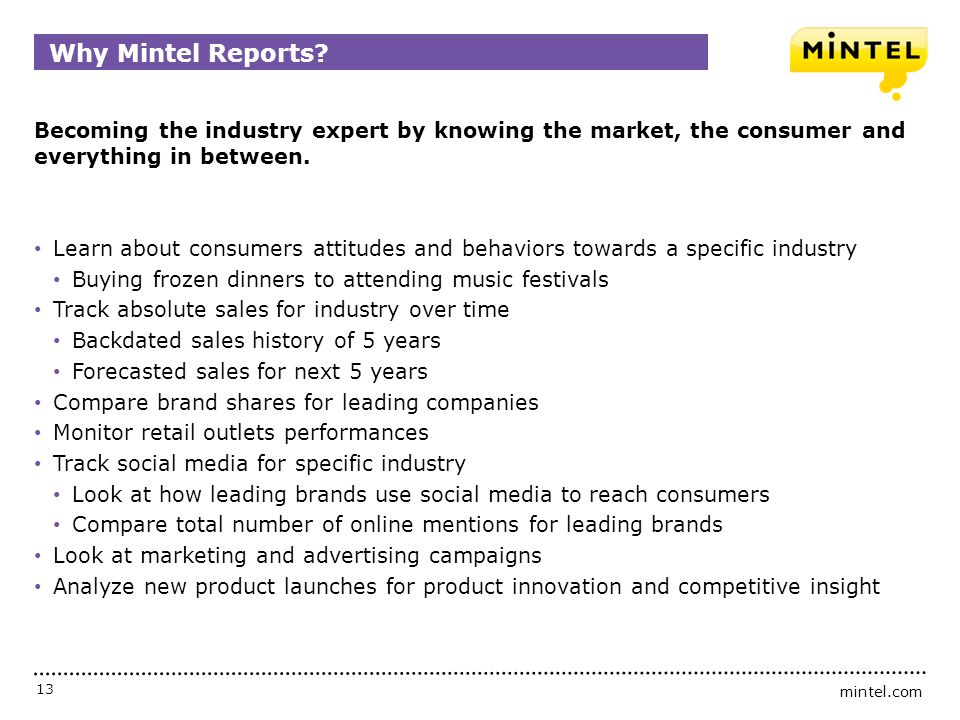 Why Mintel Reports Becoming the industry expert by knowing the market, the consumer and everything in between.