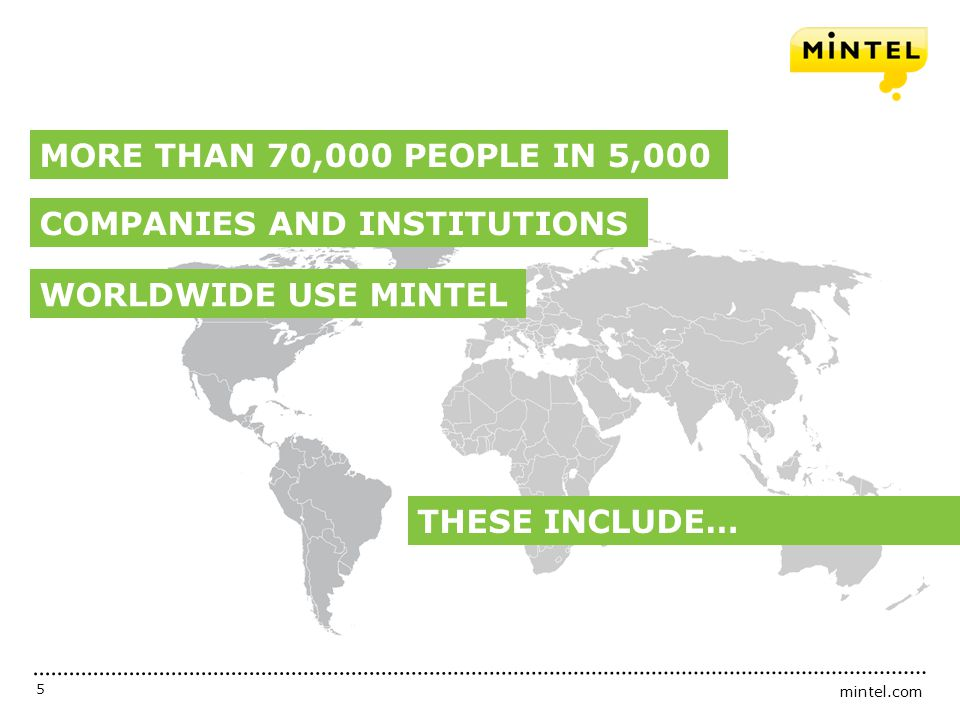 MORE THAN 70,000 PEOPLE IN 5,000 COMPANIES AND INSTITUTIONS WORLDWIDE USE MINTEL THESE INCLUDE…