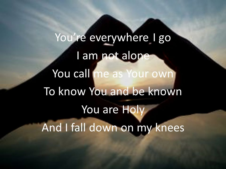 You're everywhere I go I am not alone You call me as Your own To know You and be known You are Holy And I fall down on my knees