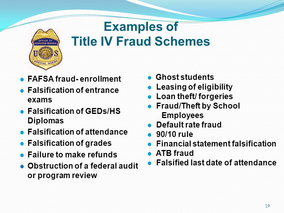 Examples of Title IV Fraud Schemes
