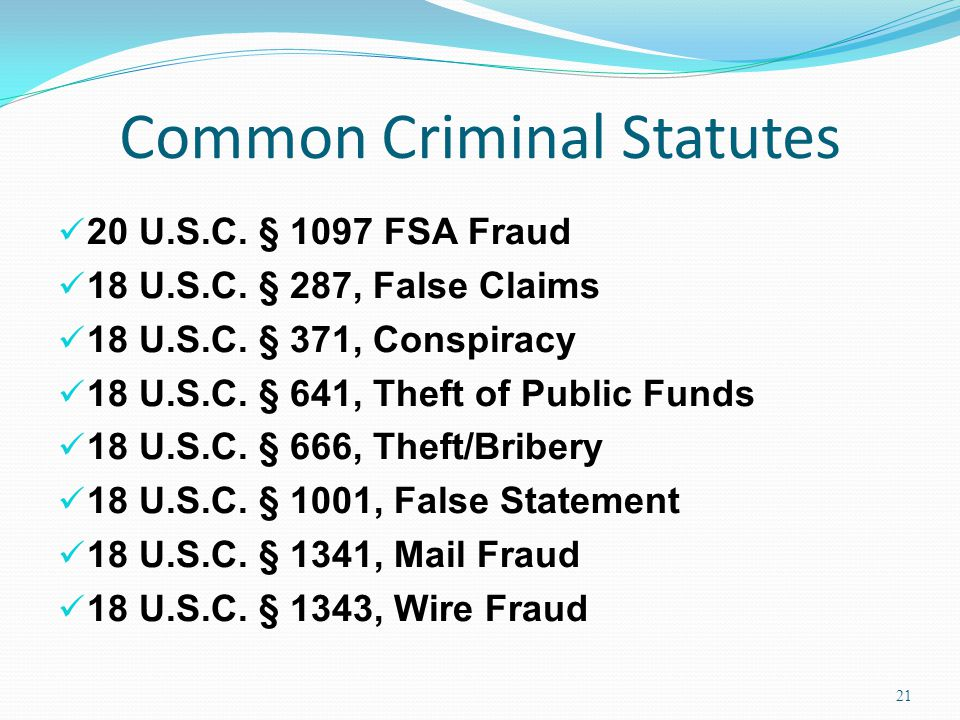 Common Criminal Statutes