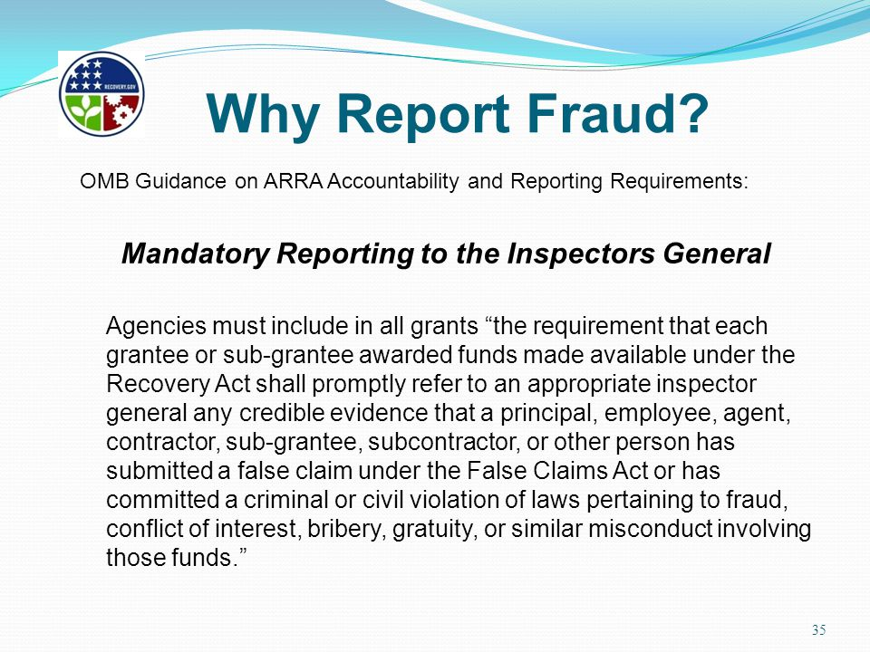 Mandatory Reporting to the Inspectors General