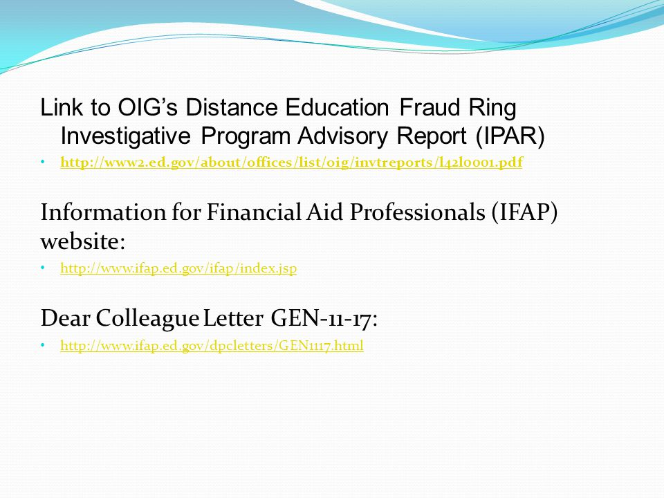 Information for Financial Aid Professionals (IFAP) website: