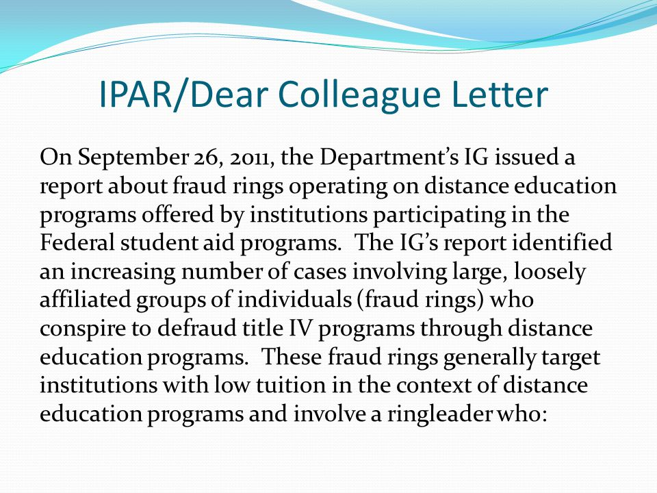 IPAR/Dear Colleague Letter