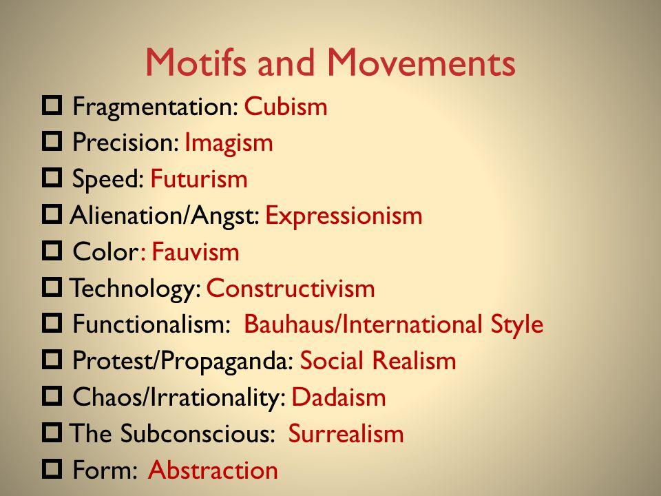 Motifs and Movements Fragmentation: Cubism Precision: Imagism