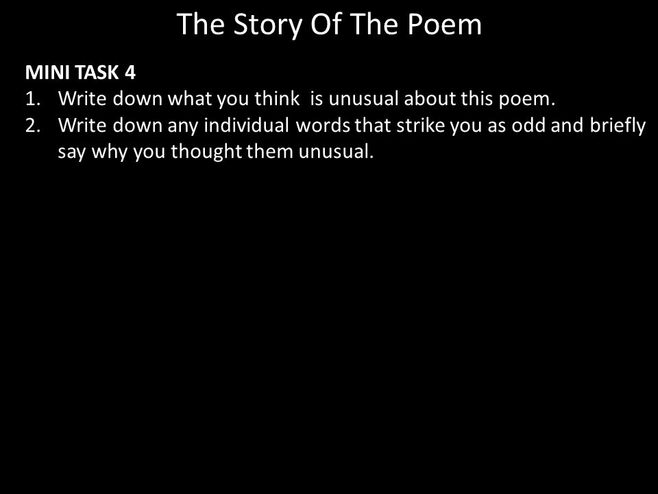 The Story Of The Poem MINI TASK 4