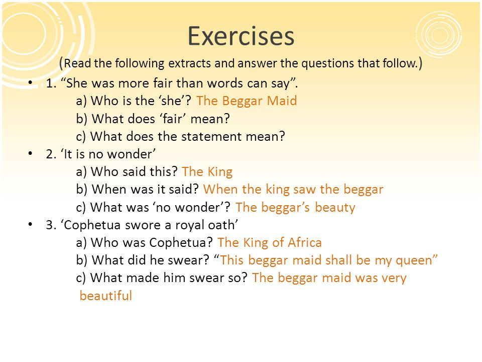 Exercises (Read the following extracts and answer the questions that follow.)