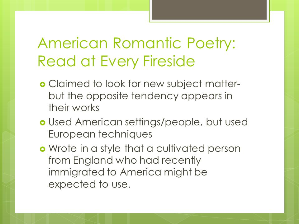 American Romantic Poetry: Read at Every Fireside