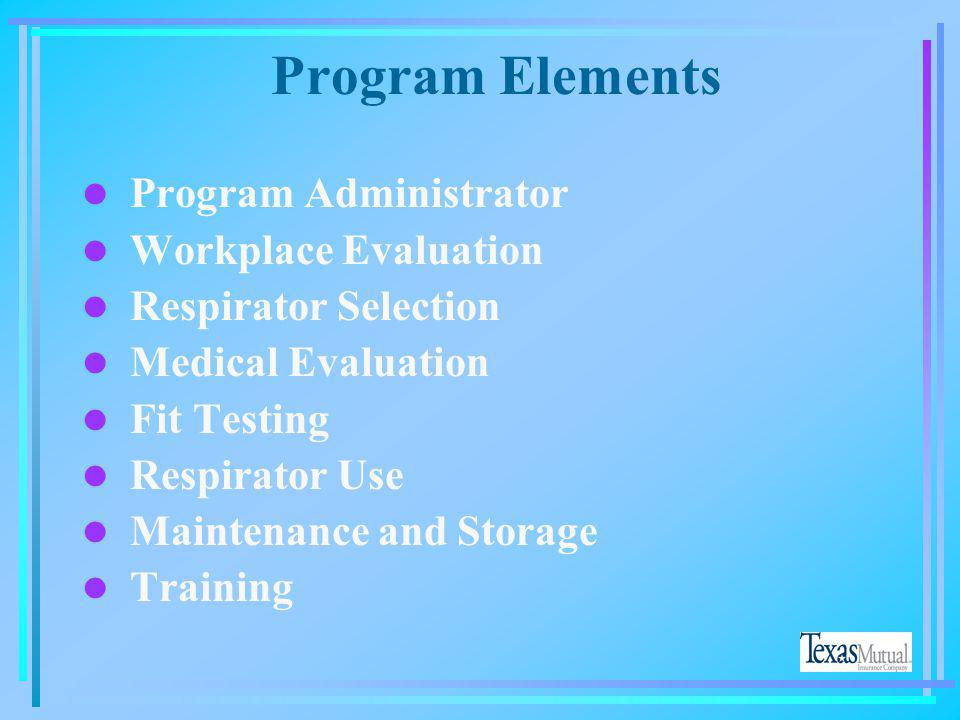 Program Elements Program Administrator Workplace Evaluation