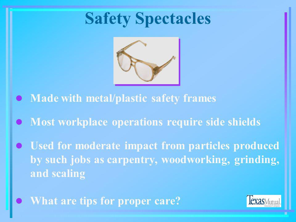 Safety Spectacles Made with metal/plastic safety frames