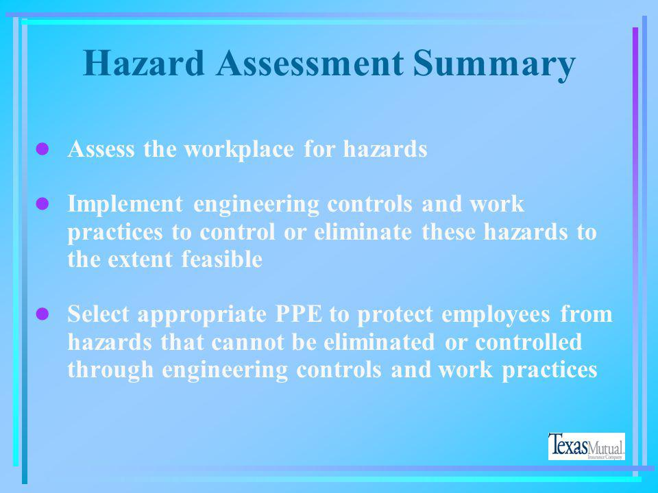 Hazard Assessment Summary