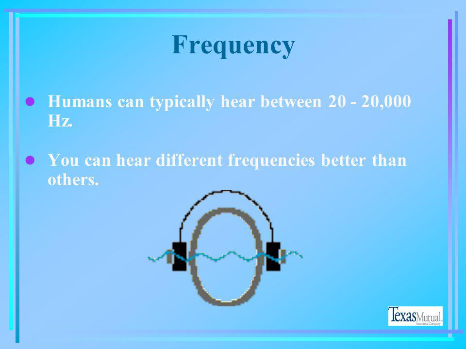Frequency Humans can typically hear between 20 - 20,000 Hz.