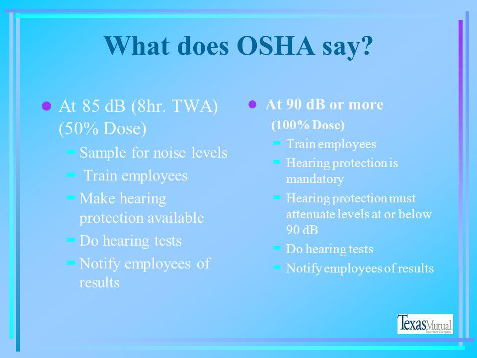 What does OSHA say At 85 dB (8hr. TWA) (50% Dose) At 90 dB or more