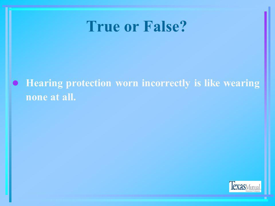 True or False Hearing protection worn incorrectly is like wearing none at all.