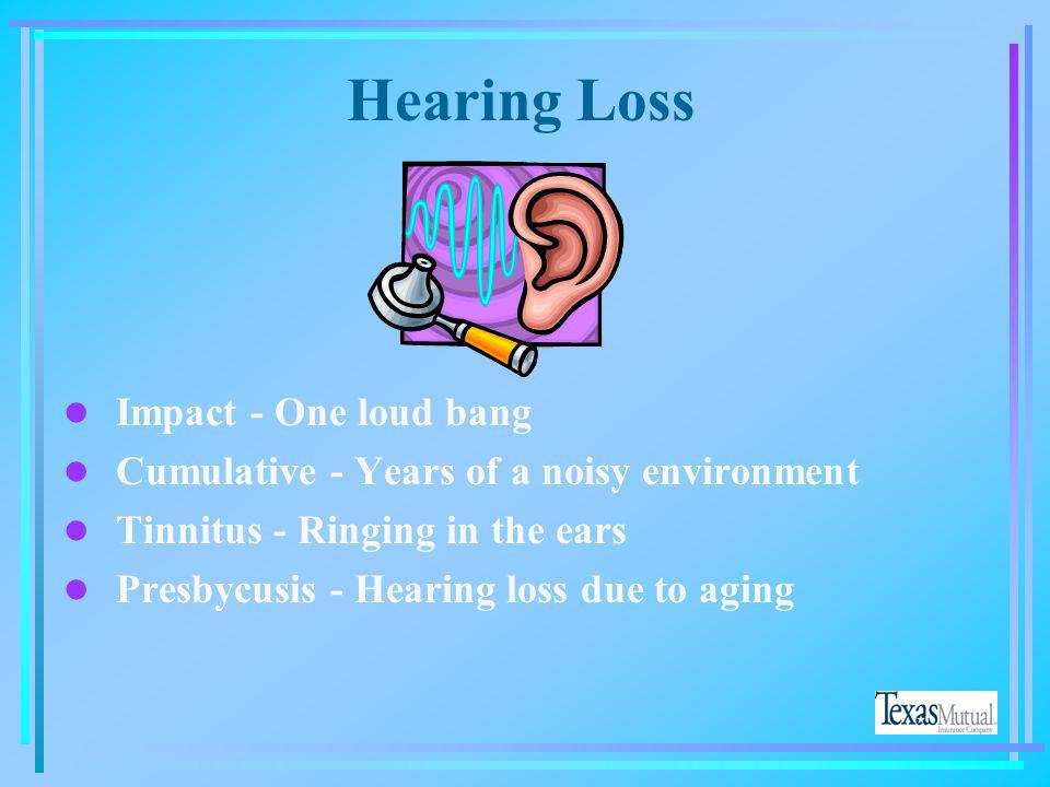 Hearing Loss Impact - One loud bang