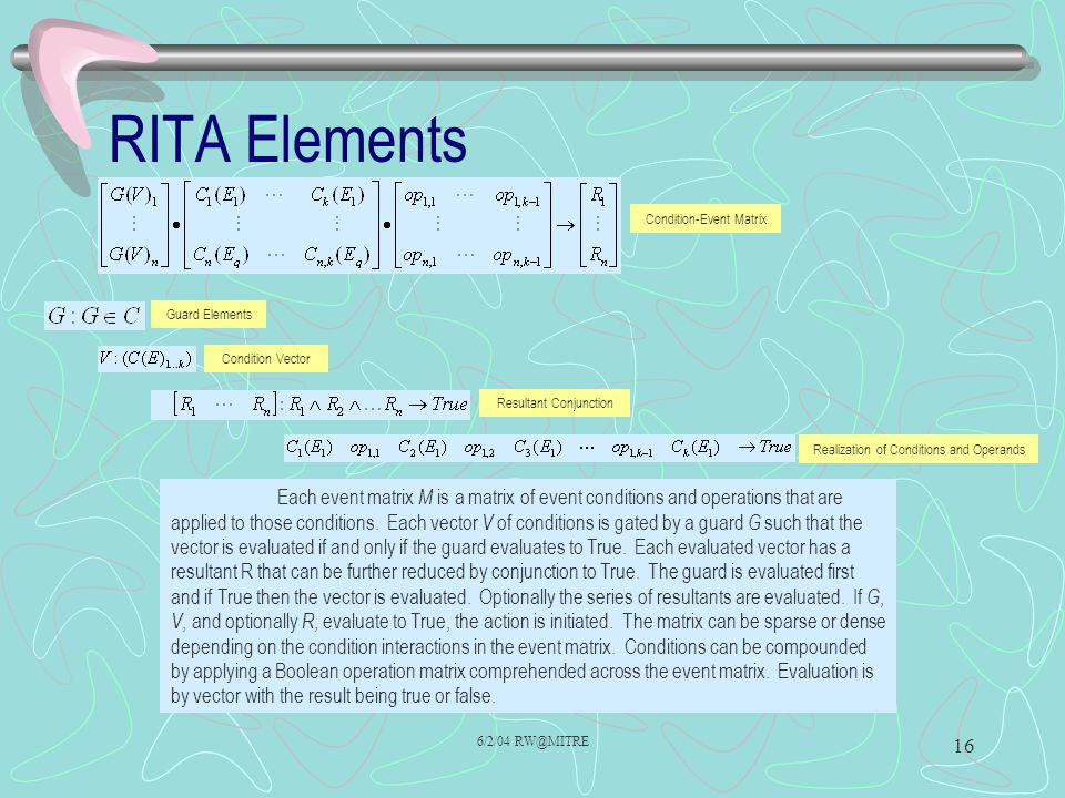 RITA Elements Condition-Event Matrix. Guard Elements. Condition Vector. Resultant Conjunction. Realization of Conditions and Operands.