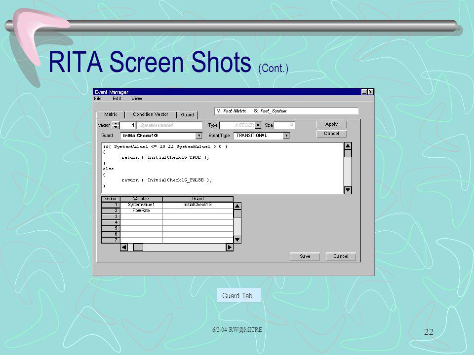 RITA Screen Shots (Cont.)