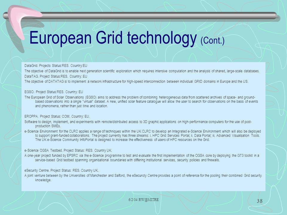 European Grid technology (Cont.)