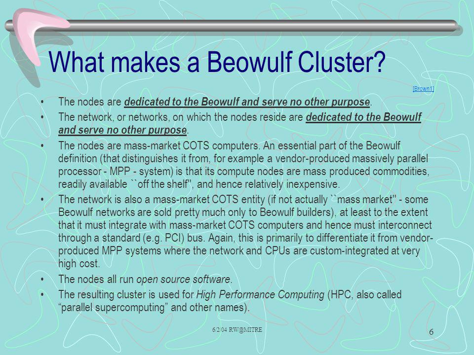 What makes a Beowulf Cluster