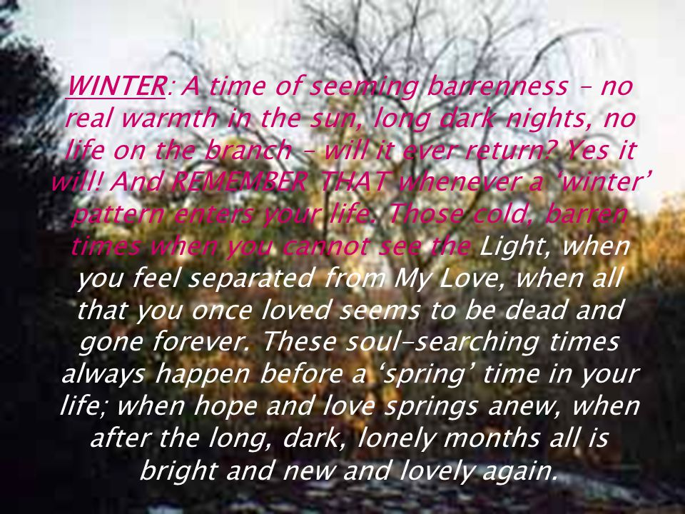 WINTER: A time of seeming barrenness – no real warmth in the sun, long dark nights, no life on the branch – will it ever return.