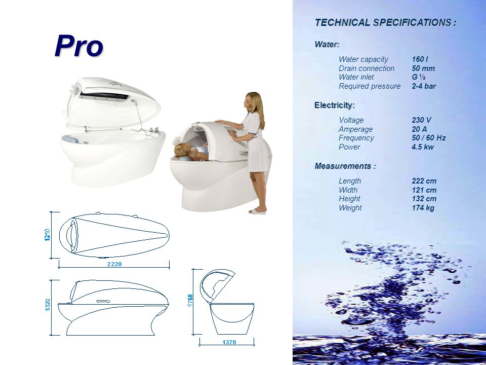 Pro TECHNICAL SPECIFICATIONS : Water: Electricity: Measurements :