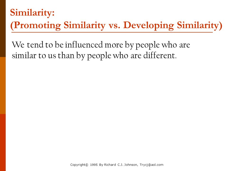 Similarity: (Promoting Similarity vs. Developing Similarity)