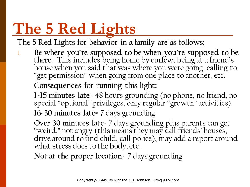 The Parenting Toolbox NACM Annual Conference 2006. The 5 Red Lights. The 5 Red Lights for behavior in a family are as follows: