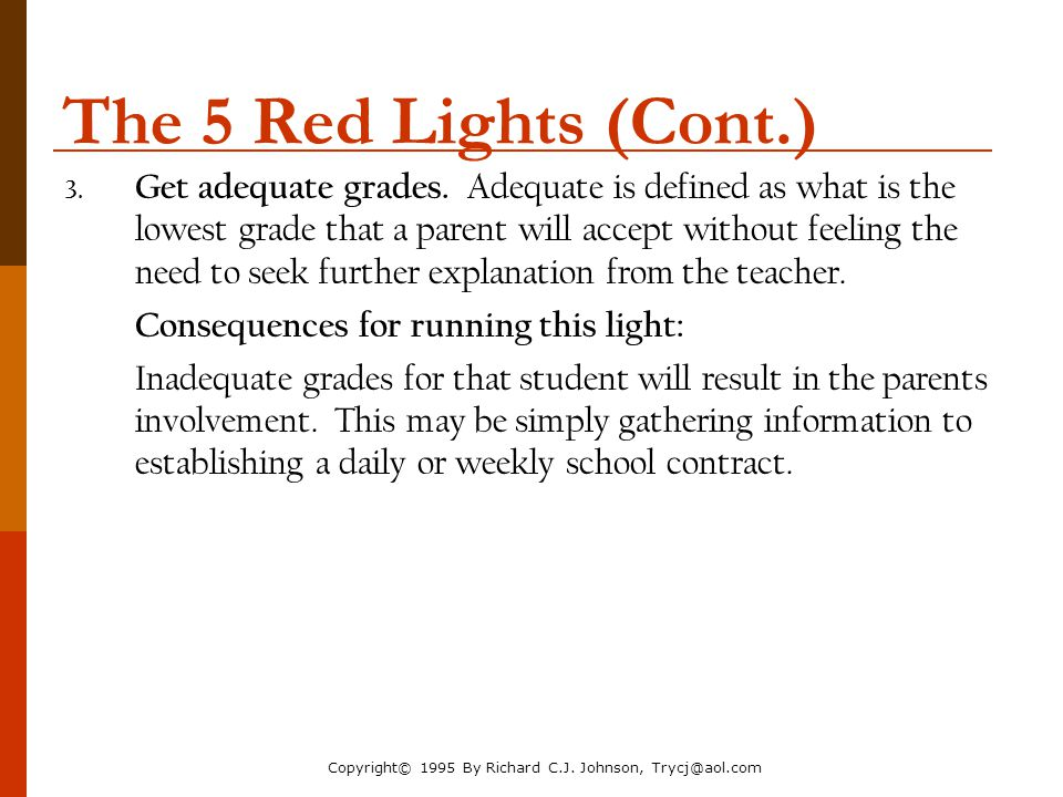 The Parenting Toolbox NACM Annual Conference 2006. The 5 Red Lights (Cont.)