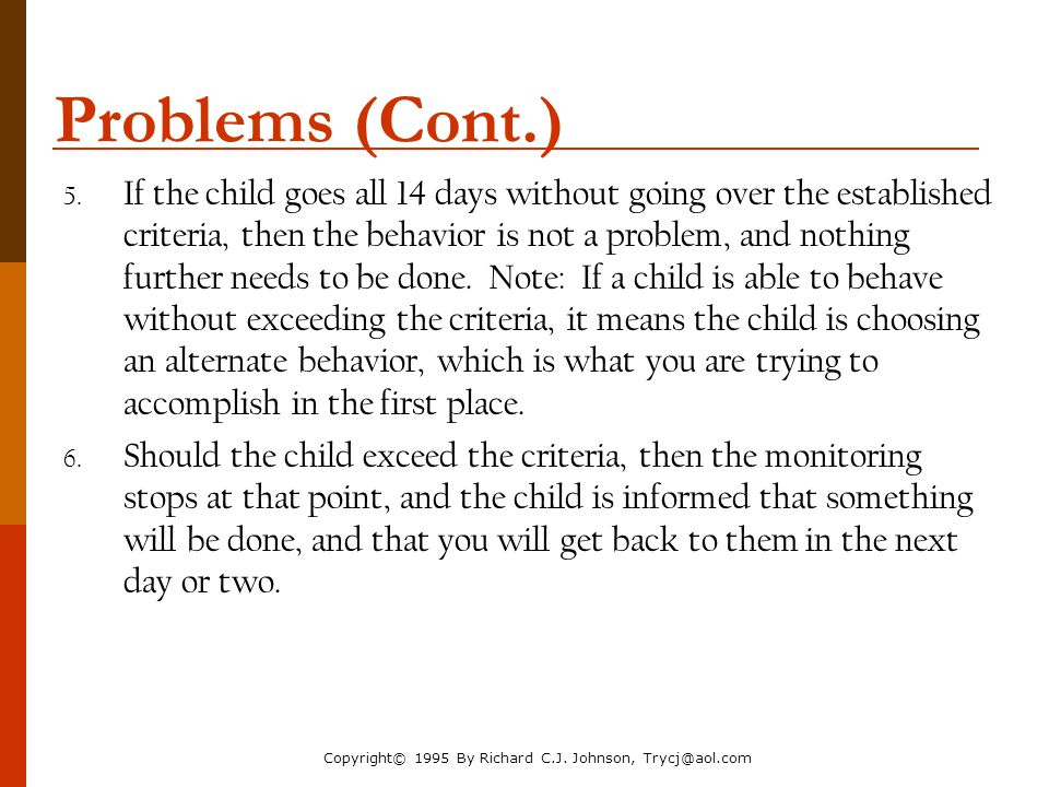 The Parenting Toolbox NACM Annual Conference 2006. Problems (Cont.)
