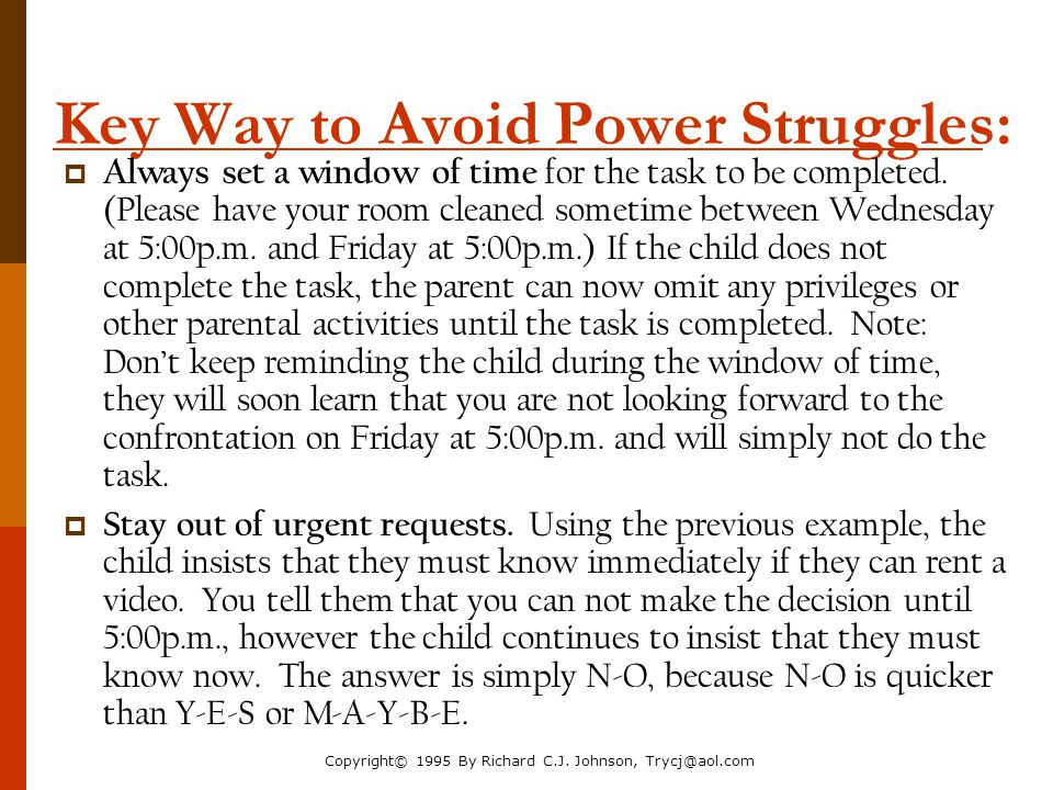 Key Way to Avoid Power Struggles: