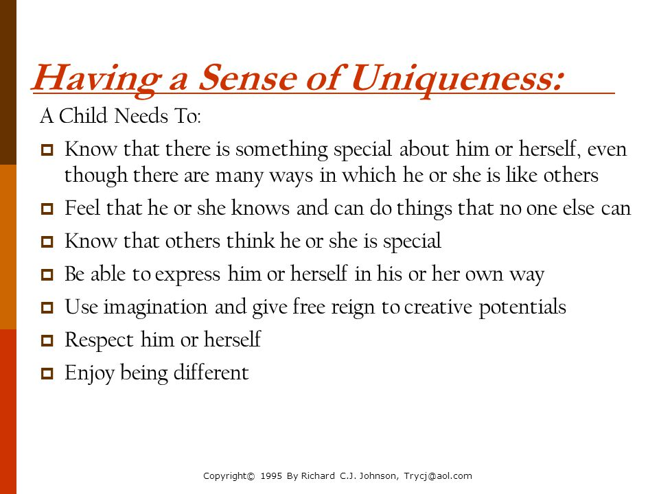 Having a Sense of Uniqueness: