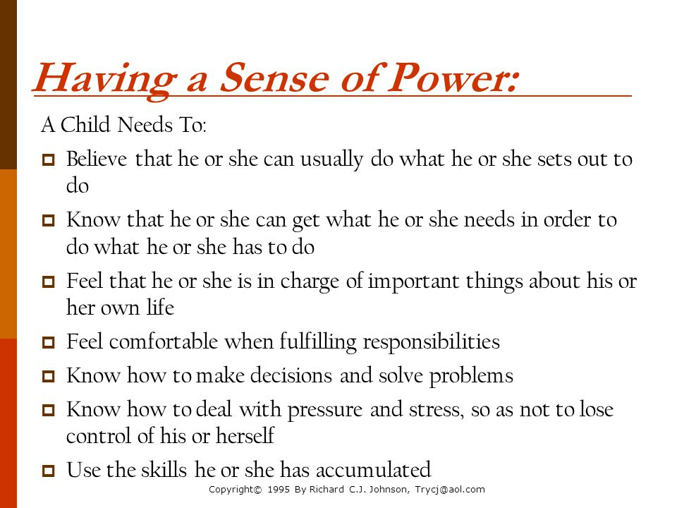 Having a Sense of Power: