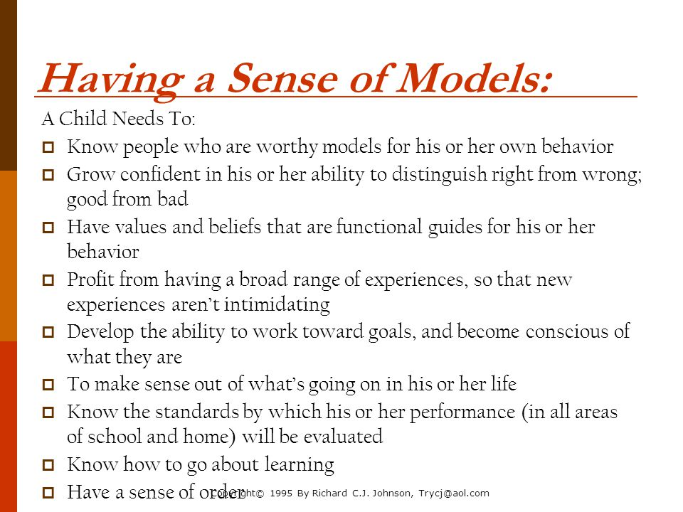Having a Sense of Models: