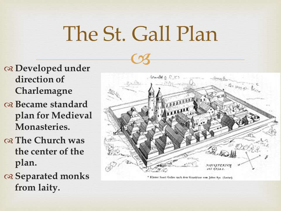 The St. Gall Plan Developed under direction of Charlemagne