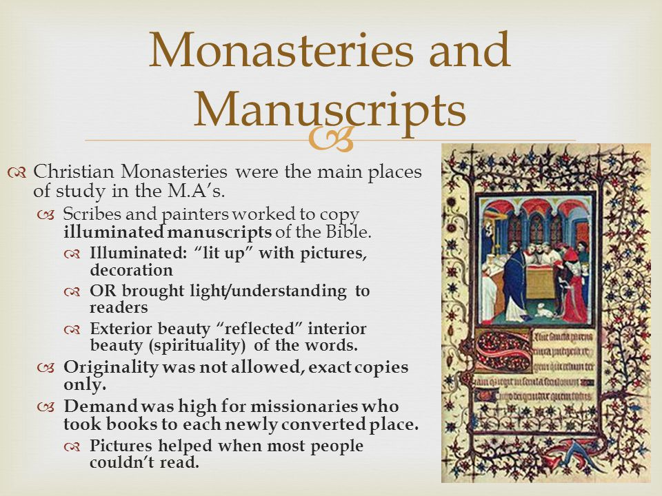 Monasteries and Manuscripts